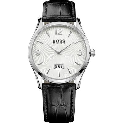 reloj hubo boss correa piel negra