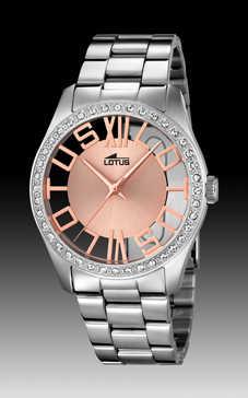 reloj lotus acero bicolor transparente