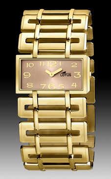 reloj lotus cuadrado dorado esfera cobre