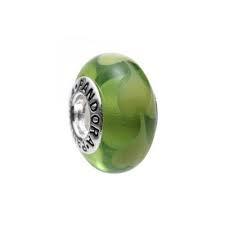 abalorio pandora cristal de murano corazones verdes