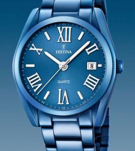 reloj festina acero azul