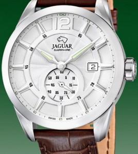 reloj jaguar acero correa piel marrron