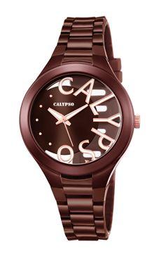 reloj calypso marron letras