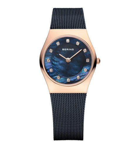 reloj bering malla acero azul