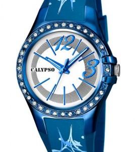 reloj calypso azules esfera blanca