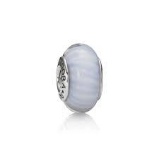 charm cristal de murano azul claro blanco