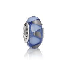 charm cristal de murano azul gris