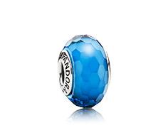 cristal de murano facetado azul