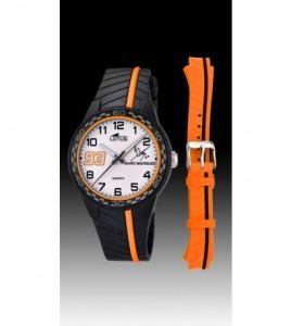 reloj lotus marc marquez caucho negro y naranja