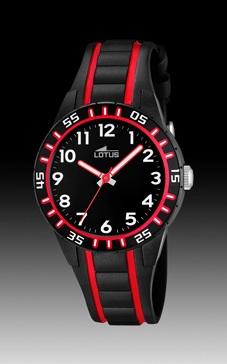 reloj lotus caucho negro y rojo