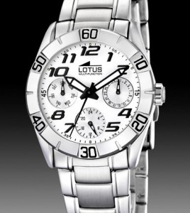 reloj lotus multifuncion esfera blanca