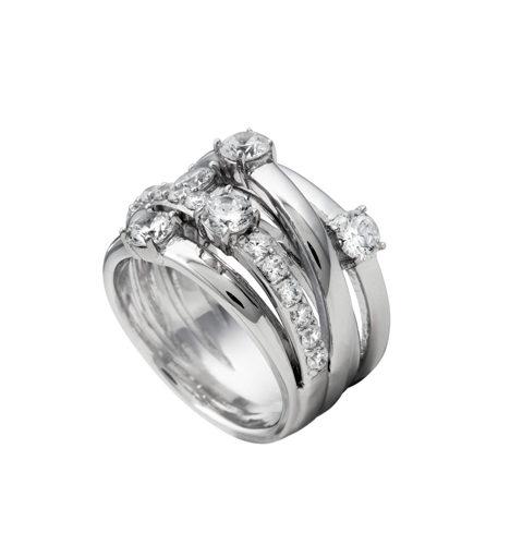 anillo ancho plata diamonfire
