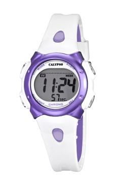 reloj digital señora blanco y lila calypso