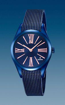 reloj festina acero malla azul