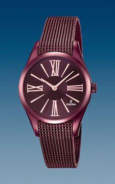 reloj festina malla acero violeta