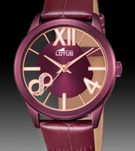 reloj lotus violeta correa piel