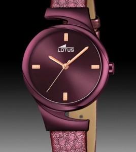 reloj lotus acero correa piel violeta