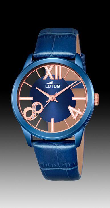 reloj lotus azul esfera transparente