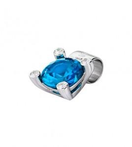 colgante lotus silver cuadrado azul