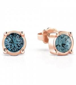 pendientes guess color cobre piedra azul
