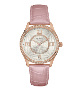 reloj guess correa piel rosa