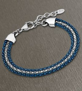 pulsera lotus style 3 hilos azul