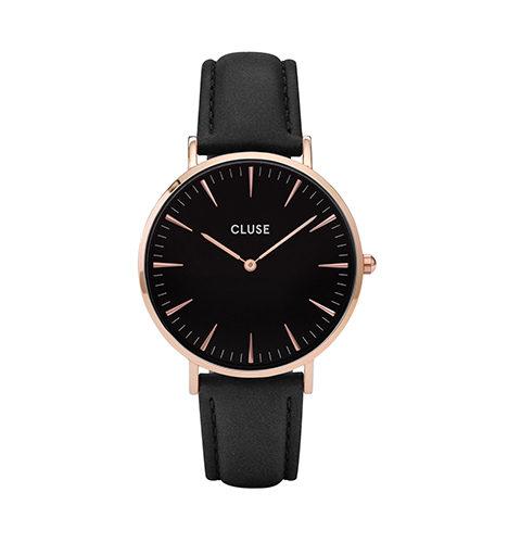 reloj cluse negro caja chapada