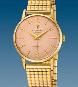 reloj festina extra dorado
