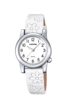 reloj calypso piel flores blancas