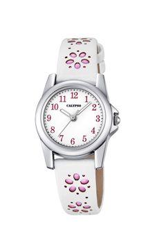 reloj calypso correa piel flores rosas