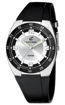 reloj clasico calypso goma negra