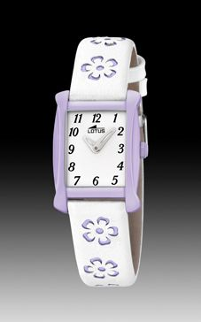 reloj lotus niña flores lilas
