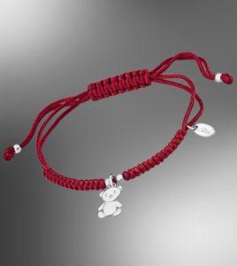 pulsera lotus silver hilo rojo con oso