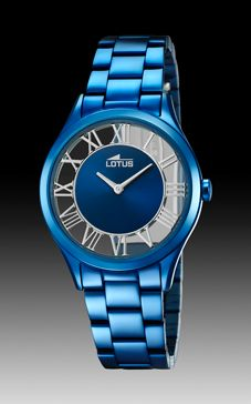 reloj lotus azul trasparente