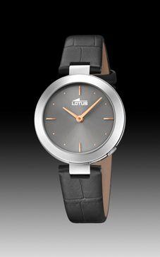 reloj lotus correa piel gris