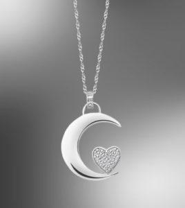 colgante media luna corazon