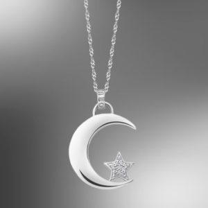 colgante lotus silver media luna estrella