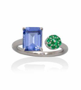 anillo marina garcia paradise azul y verde