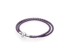 pulsera pandora cuero violeta