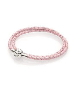 pulsera pandora cuero doble rosa