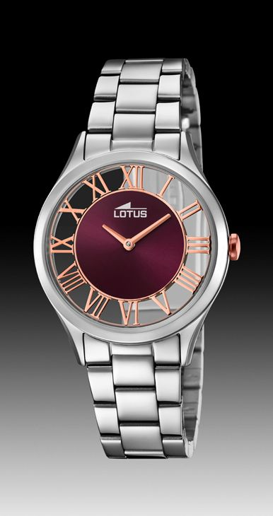 reloj lotus acero transparente